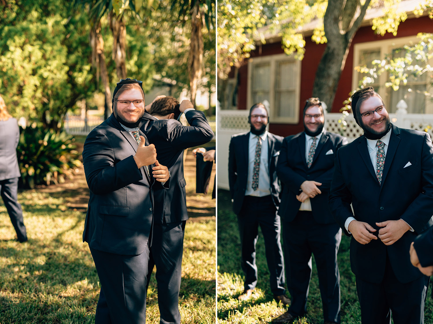 groomsmen play joke on groom during wedding at butler's courtyard