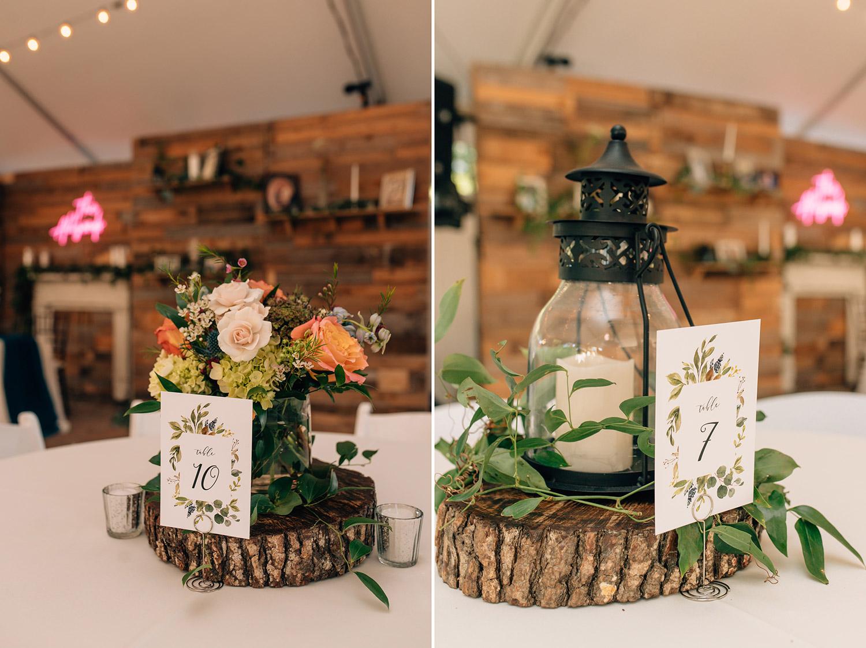 center pieces for fall wedding at butler's courtyard