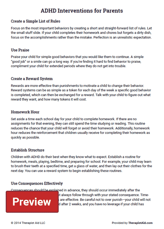 Adhd Interventions For Parents Worksheet
