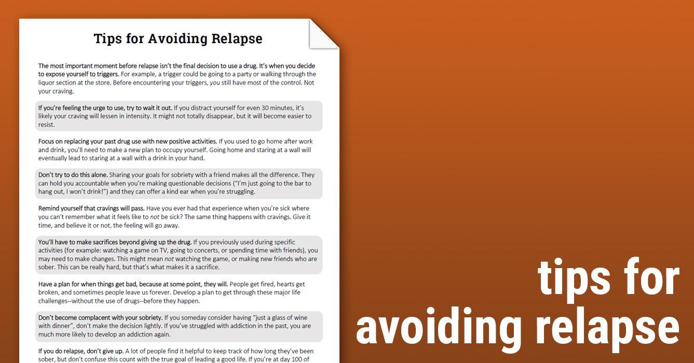 Tips For Avoiding Relapse Worksheet