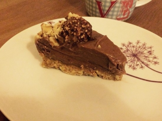 A slice of Ferrero Rocher cheesecake