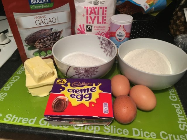 Ingredients for creme egg traybake
