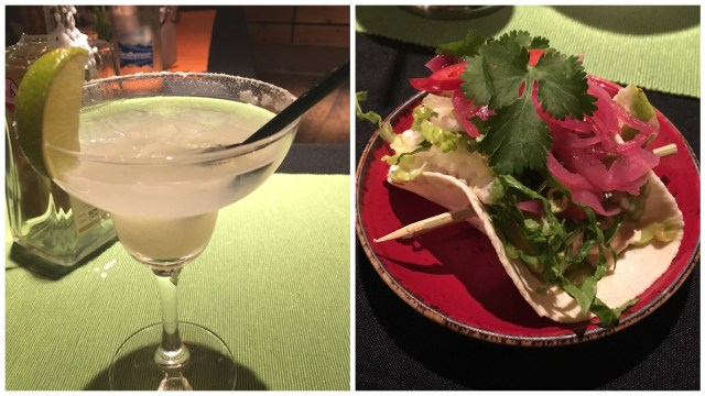Cod taco and Margarita cocktail