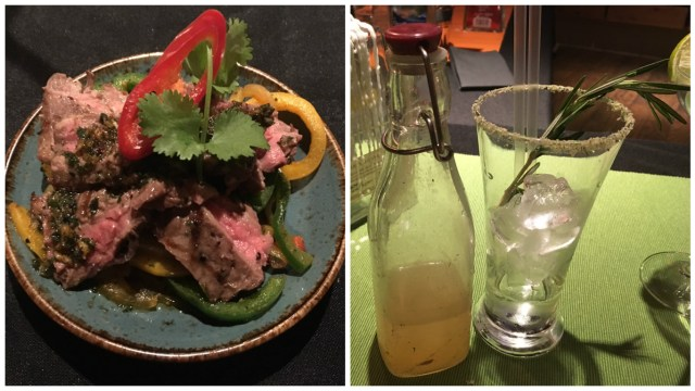 Chimichurri skirt steak with  rosemary Margarita cocktail