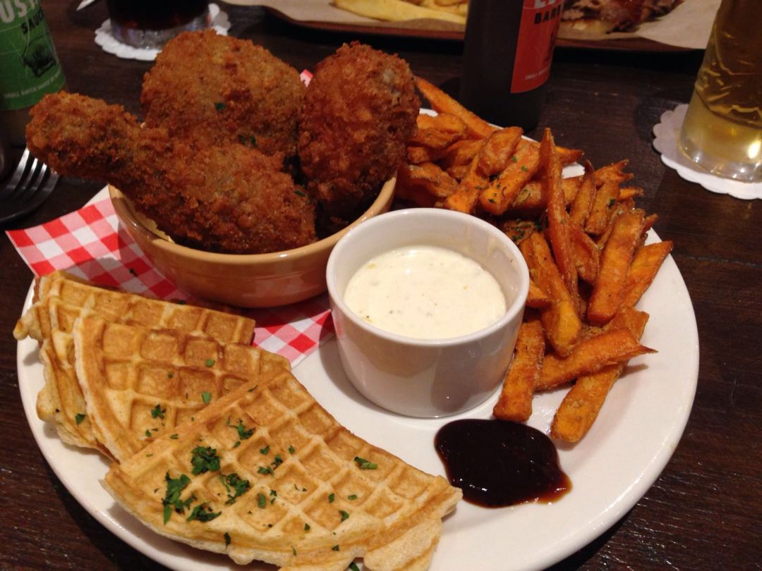 Chicken and waffles at Hangfire Smokehouse in Barry, Vale of Glamorgan