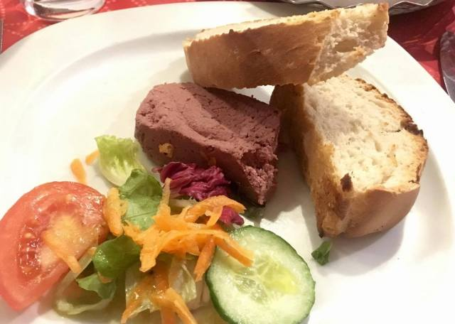 Pate, fresh bread and side salad