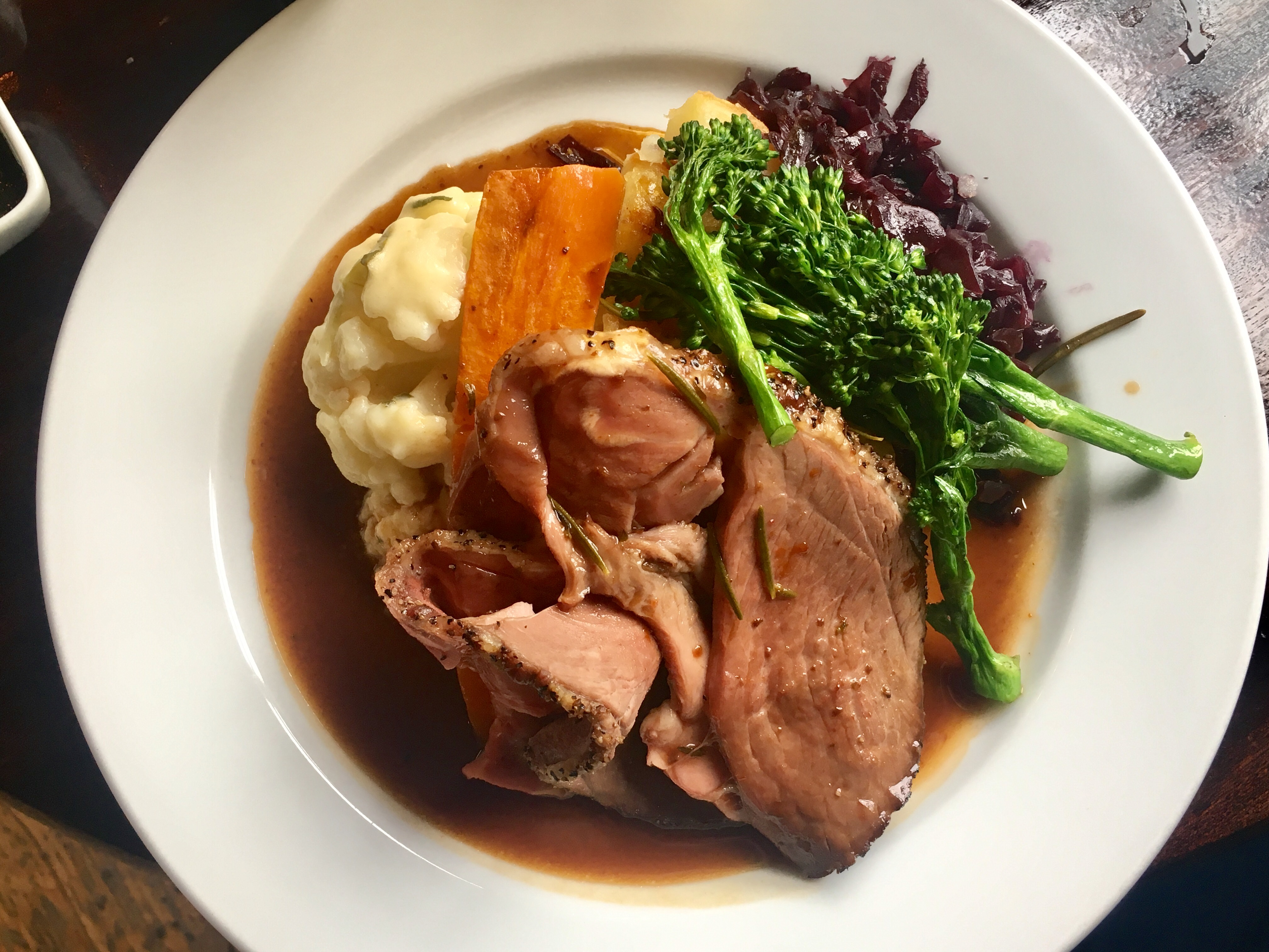 Sunday roast lamb dinner
