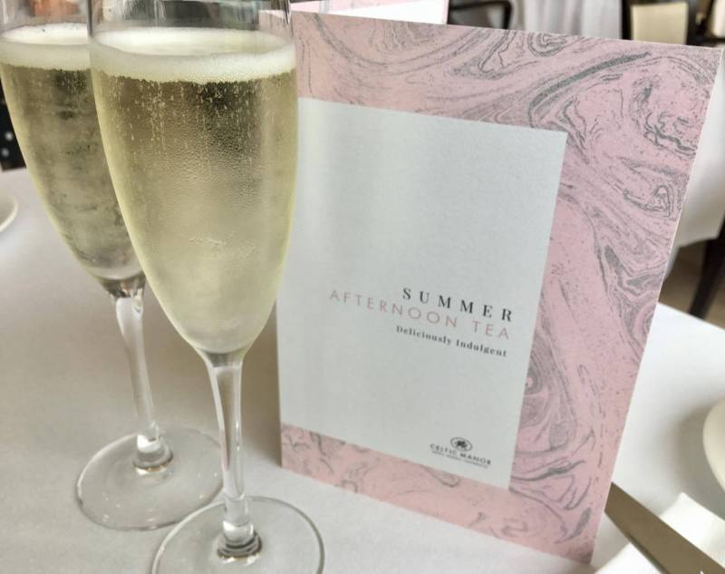 Summer Berry Afternoon Tea menu and prosecco