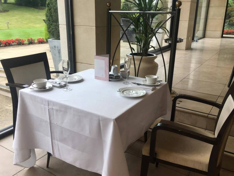 Table layout for afternoon tea at the Celtic Manor's Olive Tree Restaurant
