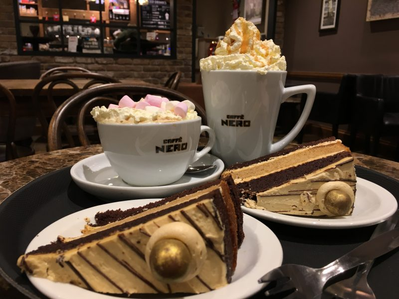 Caffe Nero cakes and hot drinks