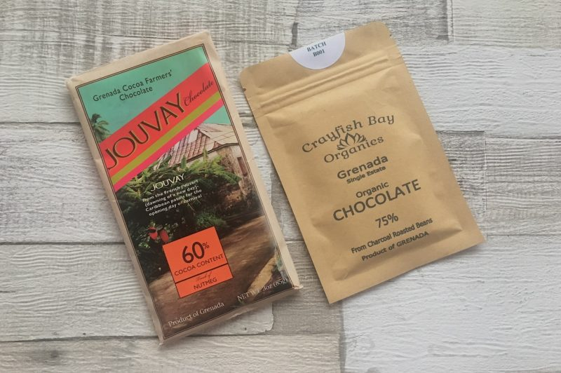 Tree-to-bar chocolate bars from Grenada Cocoa Farmers' Chocolate (Jouvay) and Crayfish Bay Organics
