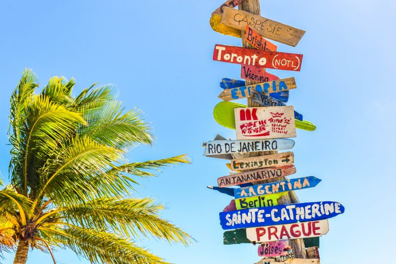 Colourful destination signs on one post, pointing in different directions