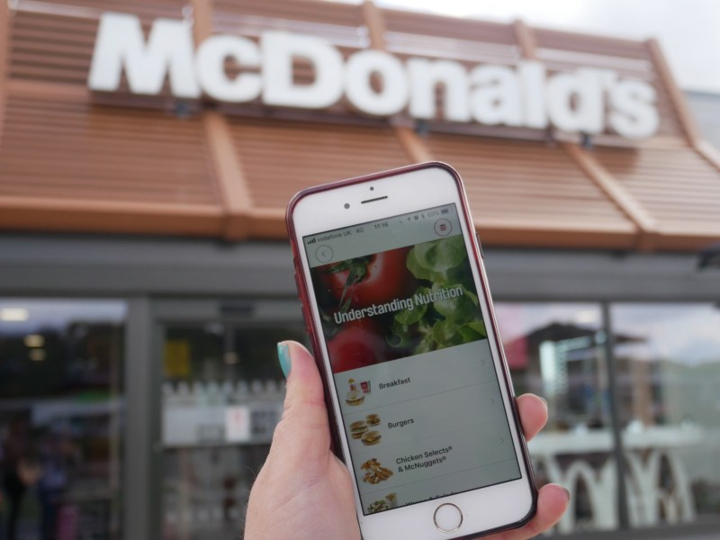 Viewing nutritional information when you order McDonald's via the app