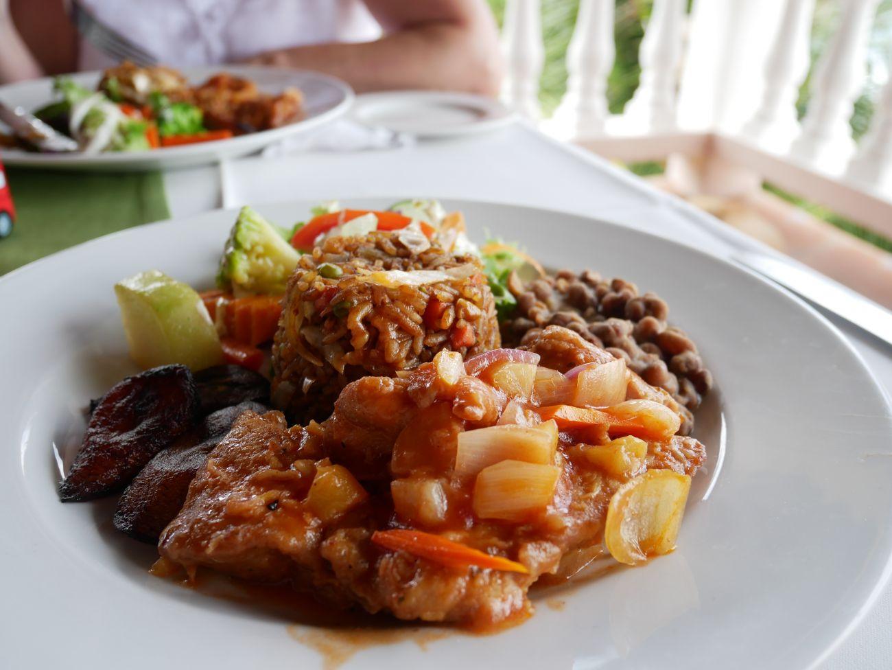 Mahi mahi fish, nutmeg beans, rice and peas