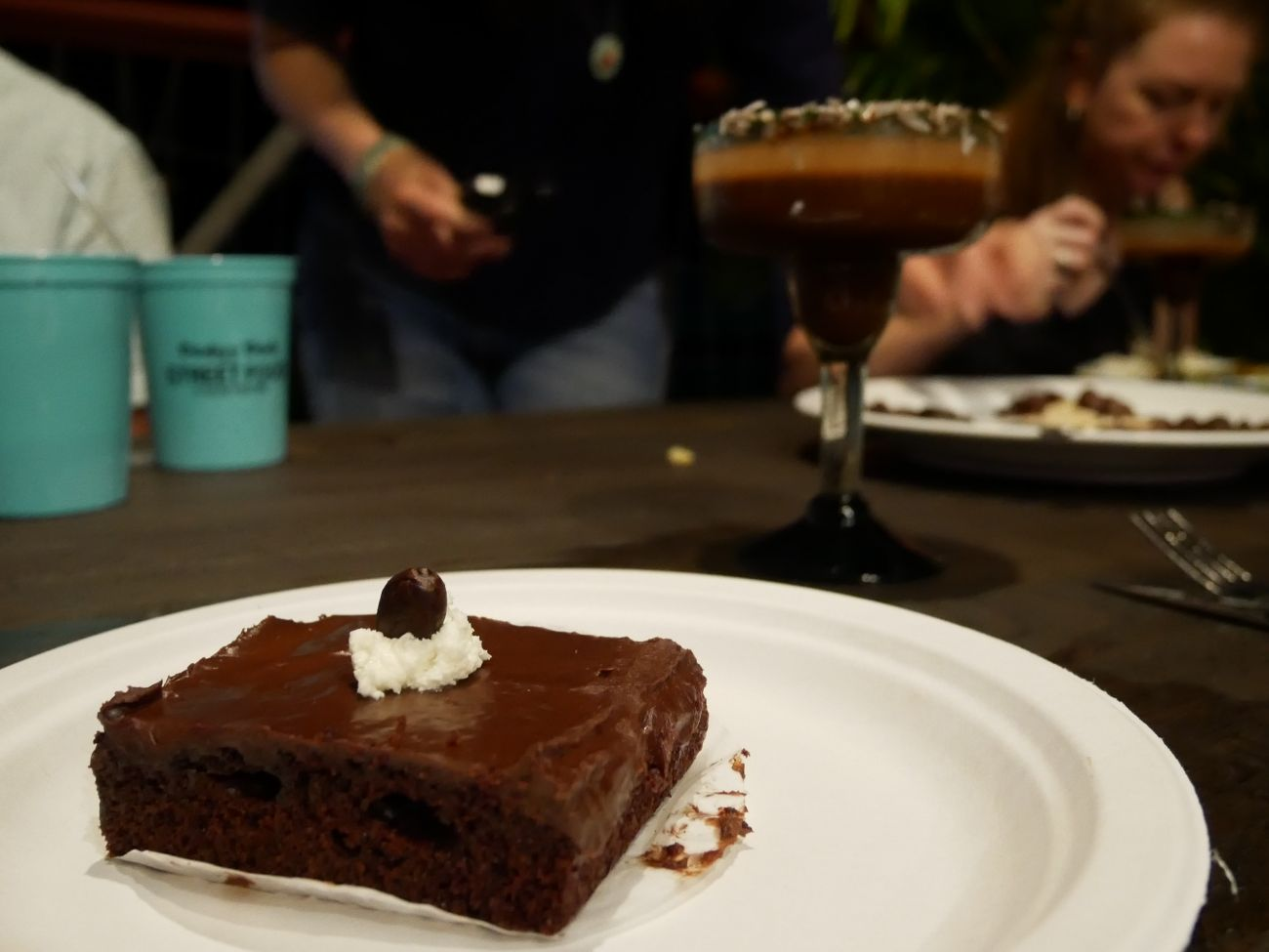 Chocolate cake and chocolate martini