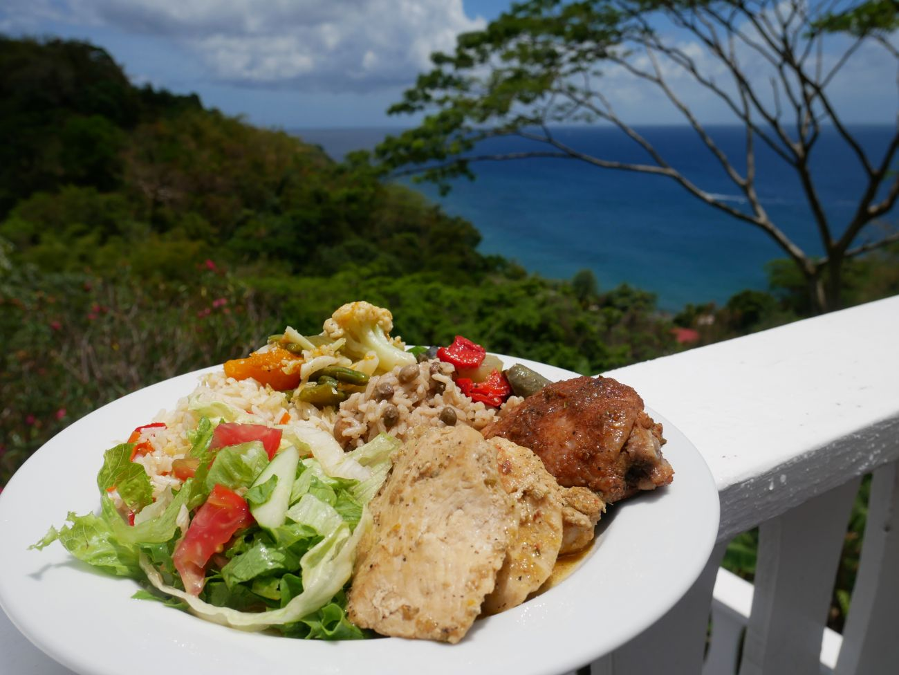 Jerk chicken, rice n'peas, salad, with the Caribbean sea in the background