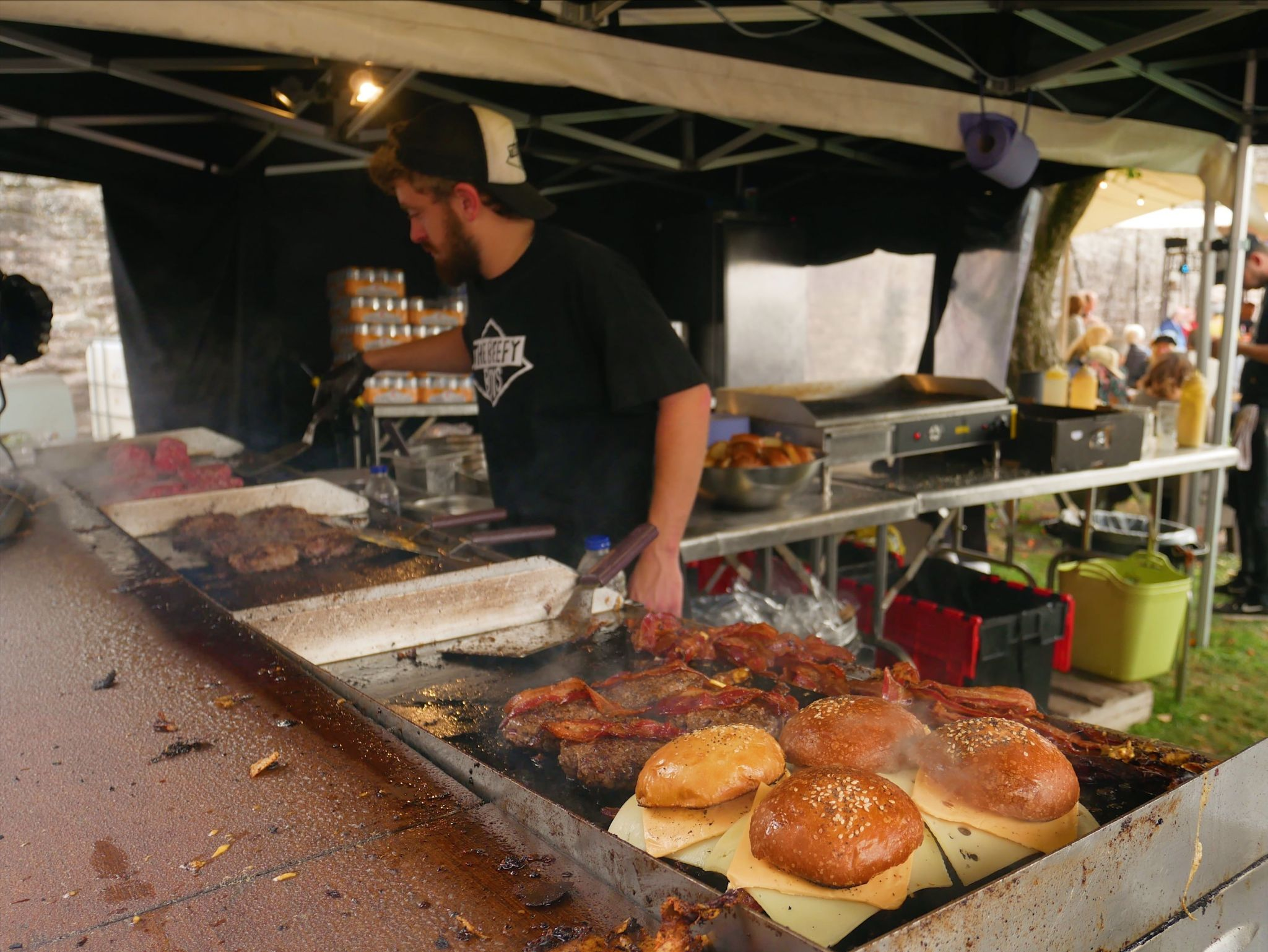 Beefy Boys preparing burgers at Abergavenny Food Festival