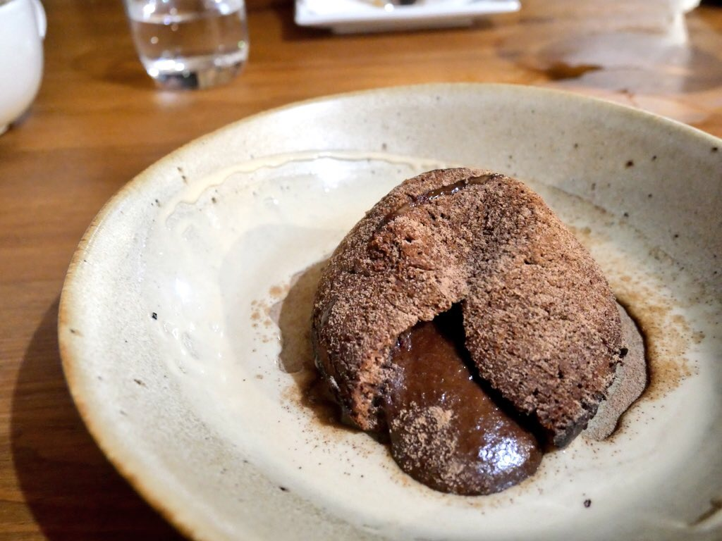 Chocolate lava pudding at Ty Morgan'sin Rhayader, Mid Wales