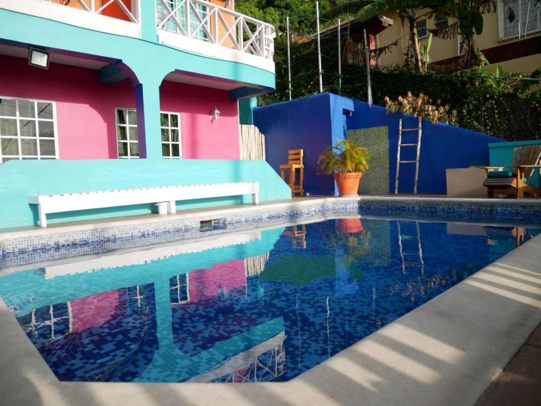 The pool at the front of SeaBreeze Hotel Grenada