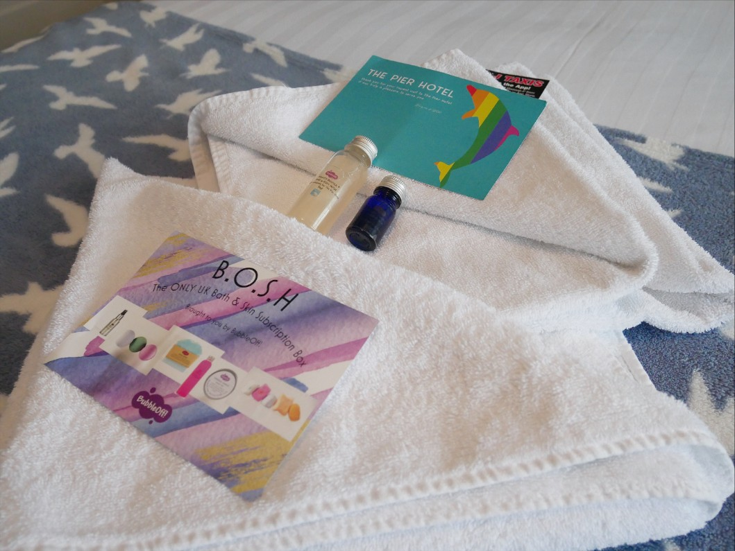 Towels and toiletries at The Pier Hotel