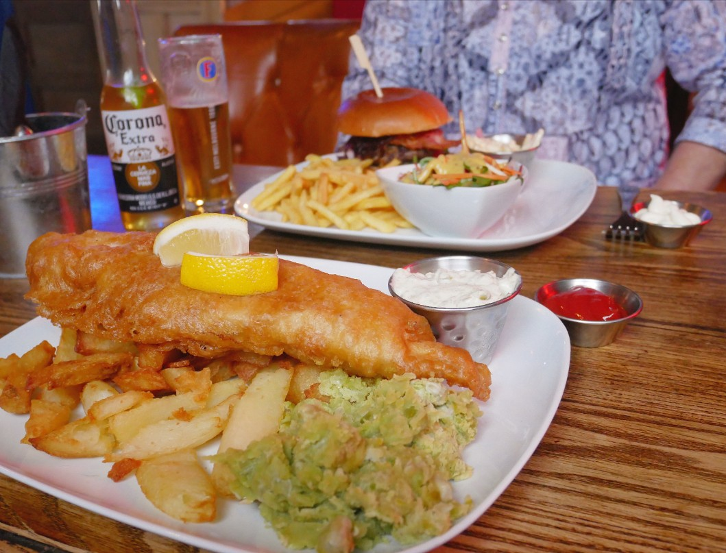 Fish and chips at The Point pub in Talacre,North East Wales
