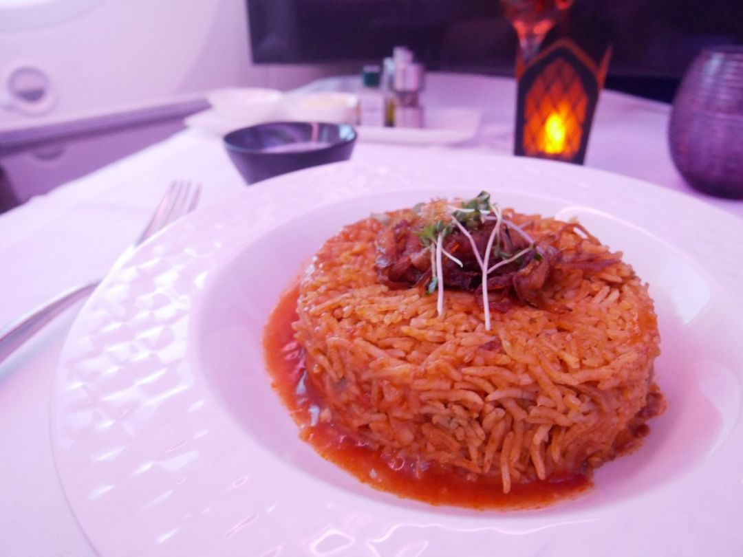 Chicken kabsa served on-board Qatar Airways Business Class