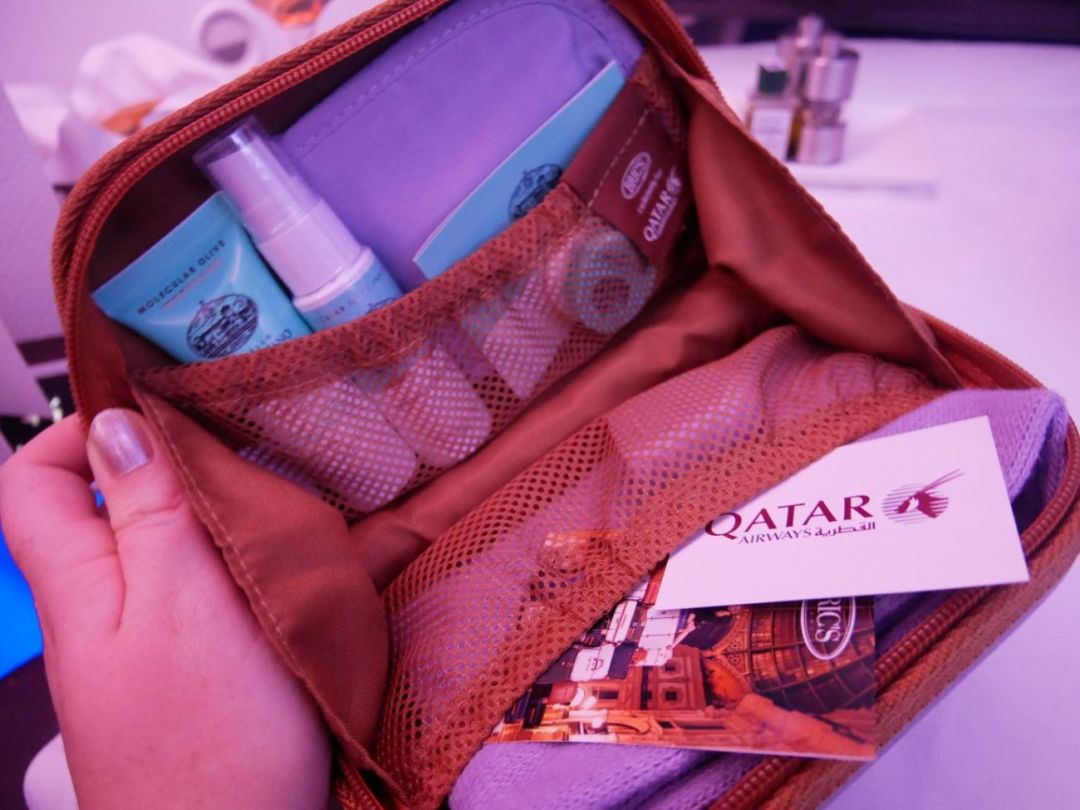 The toiletry bag on-board Qatar Airways Business Class