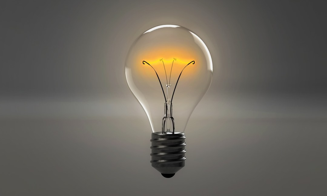A lit-up lightbulb