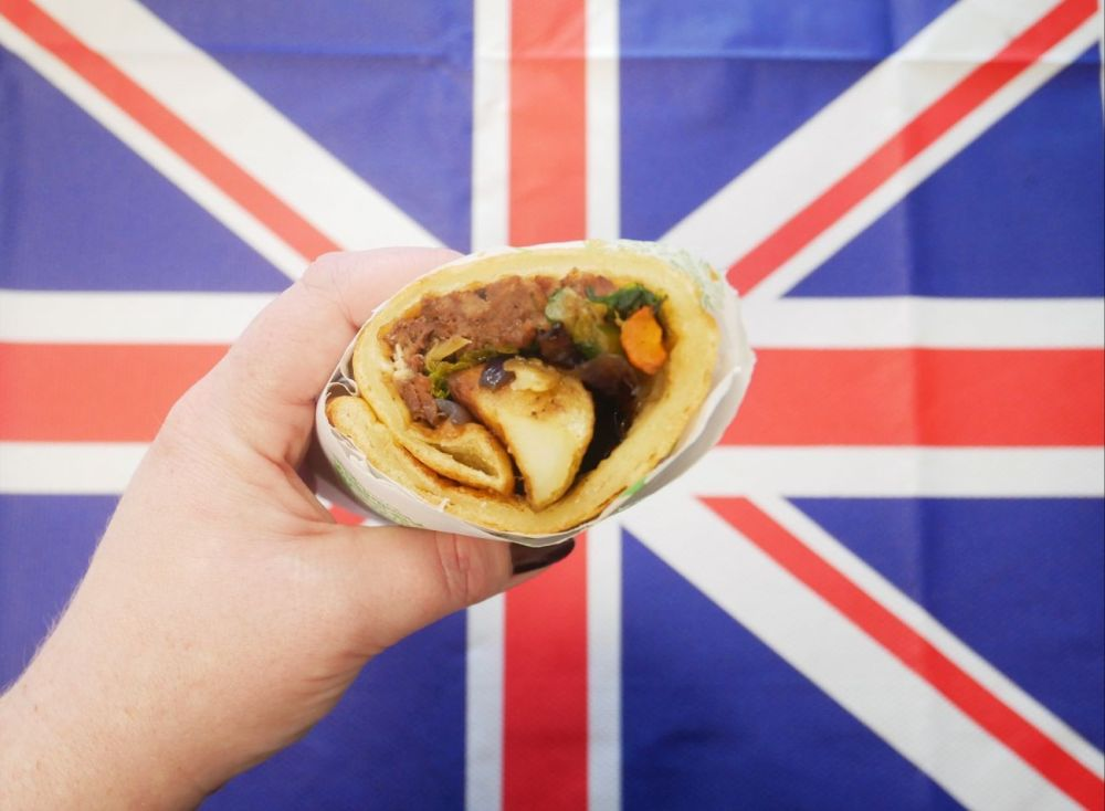 Bidfood's Yorkshire pudding wrap, against the backdrop of the Union Jack flag