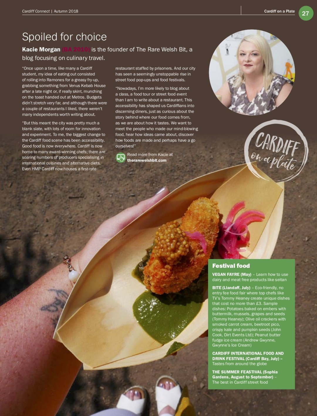 Food and travel blogger, Kacie Morgan features within 'Cardiff on a Plate': an article published in Cardiff University's alumni magazine, Cardiff Connect in December 2018.