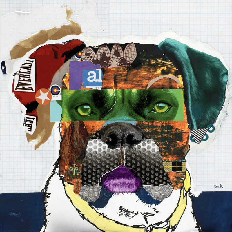 dog art boxer art collage