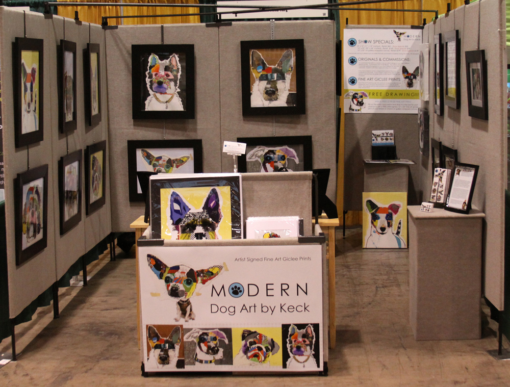 dog art booth - modern dog art collages by keck