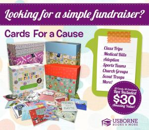Cards for a Cause, Fundraiser, Usborne Books & More, Direct Sales, Stay at home Mom