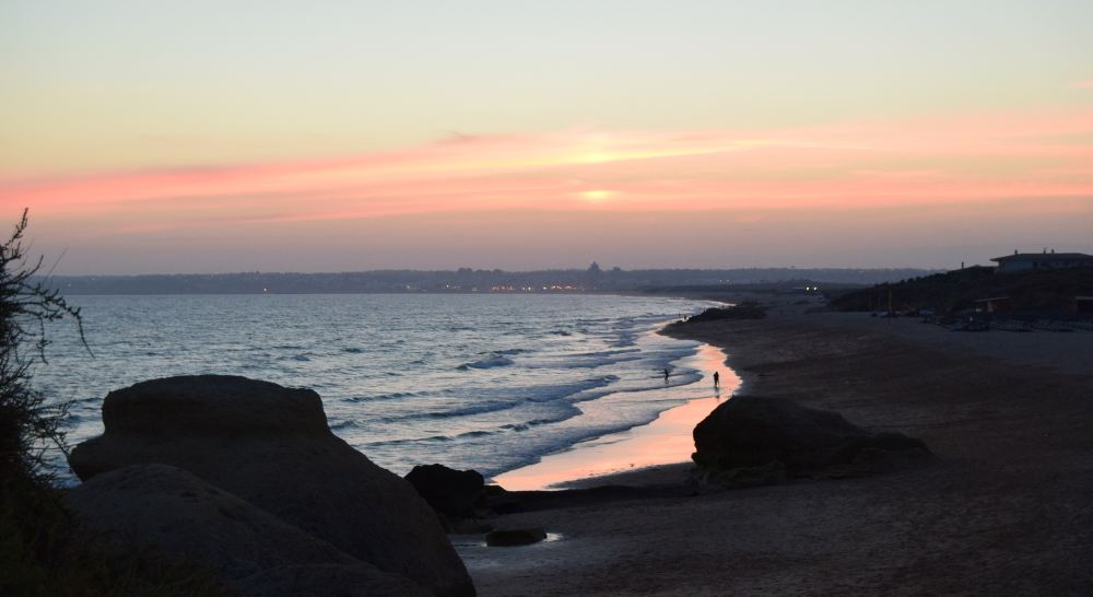 Sunset at the beach on the Algarve at Christmas
