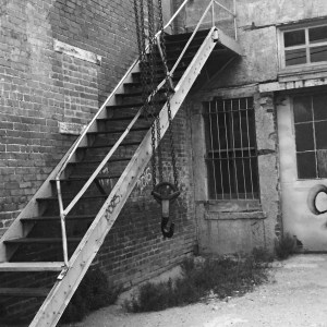Old, alley, rust, stairs, chain. hoist, brick, desolation, desolate, Tulsa, tulsitown, blue dome,