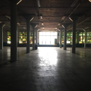 Pendulum, warehouse, window, windows, knowldge park, columns, old buildings,