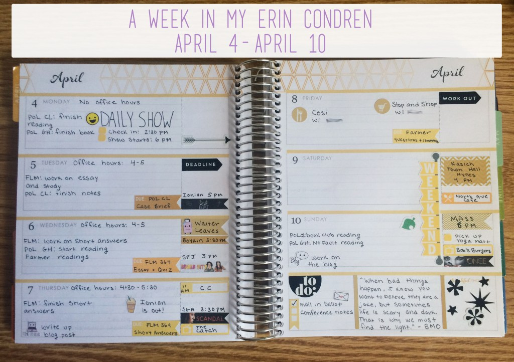 A Week in My Erin Condren April 4 - April 10| The Rebel Planner