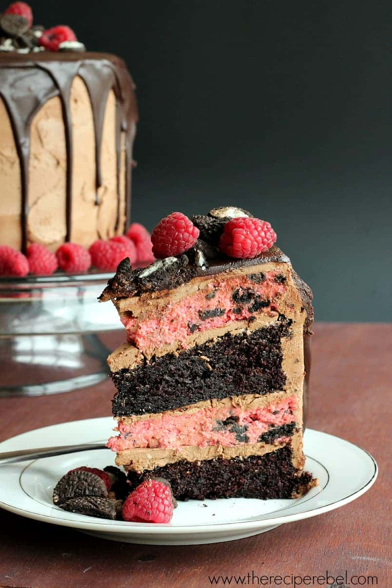 Raspberry Oreo Mocha Cheesecake Cake The Recipe Rebel