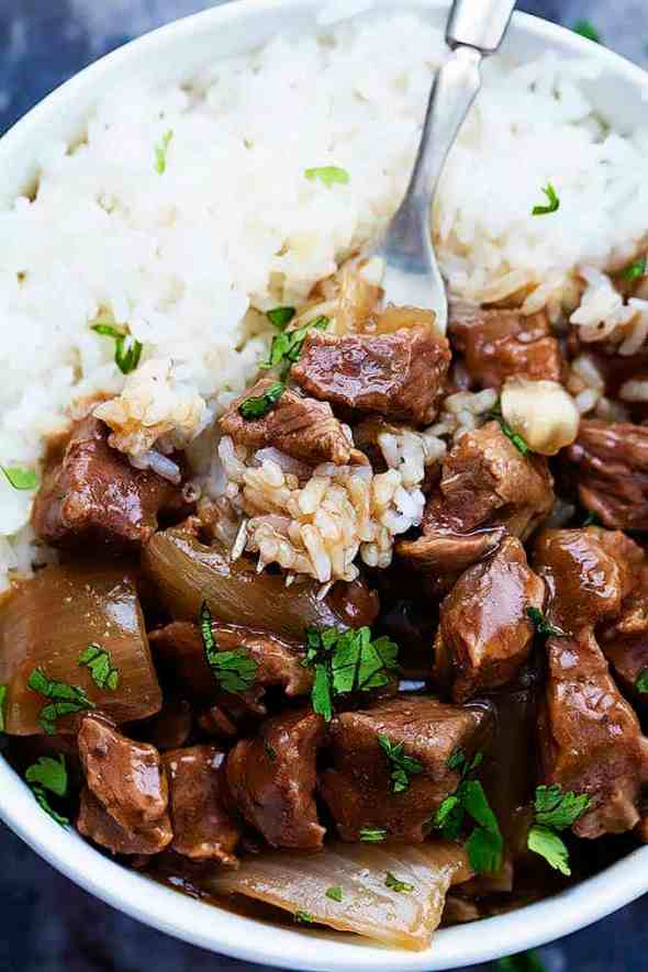 simple dinner ideas, slow-cooker-beef-rice-3