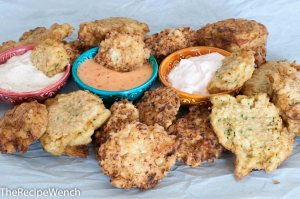 Zucchini Fritters and a Trio of Sauces