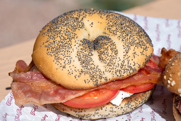 Breakfast bagel sandwich is a genius combination of cream cheese, tomato and bacon | The Recipe Wench