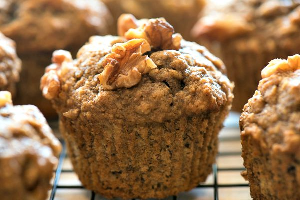 This easy recipe for healthy banana muffins uses whole wheat flour, dark brown sugar, sweet bananas and protein packed walnuts. Freeze an extra batch!   The Recipe Wench