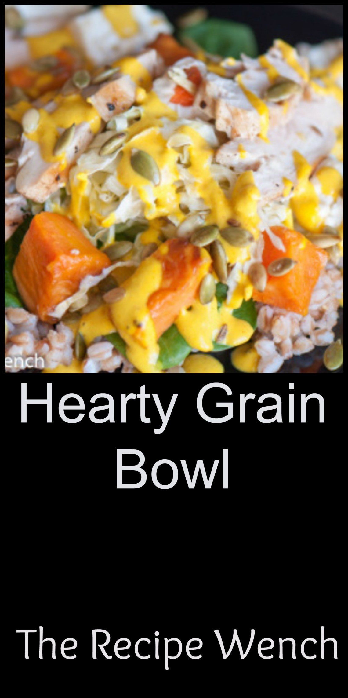Delicious hearty grain bowl with in-season roasted vegetables like carrots and sweet potatoes. Creamy feta cheese and a vibrant tahini dressing top it off! | The Recipe Wench