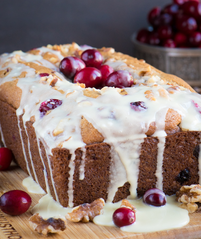 Cranberry eggnog bread with a heavenly eggnog glaze | The Recipe Wench