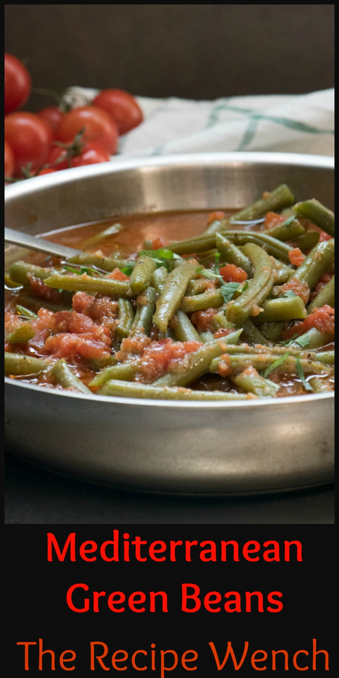 Mediterranean Green Beans make an easy and healthy side dish or appetizer. Great piping hot or at room temperature. Enjoy! | The Recipe Wench