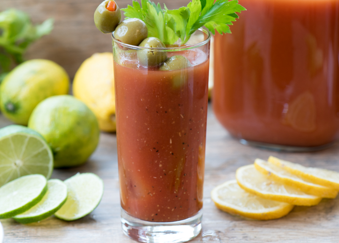 Bloody Mary -- a classic brunch cocktail. My shortcut is Spicy Hot V8 juice. So simple and tasty! | The Recipe Wench