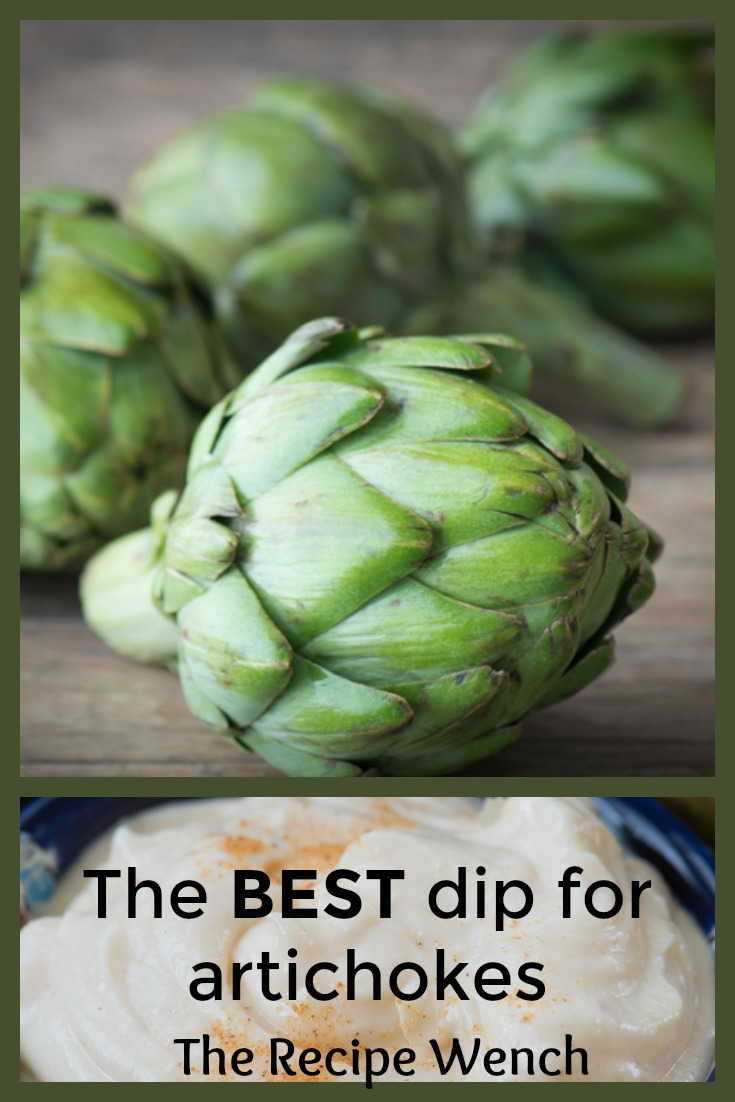 This simple dipping sauce for artichokes will drive you wild! A little butter. A little mayo. Some seasonings. Perfection! | The Recipe Wench