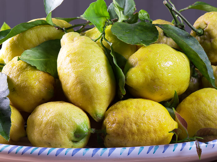 Fresh lemons are used for lemon chicken pasta with asparagus