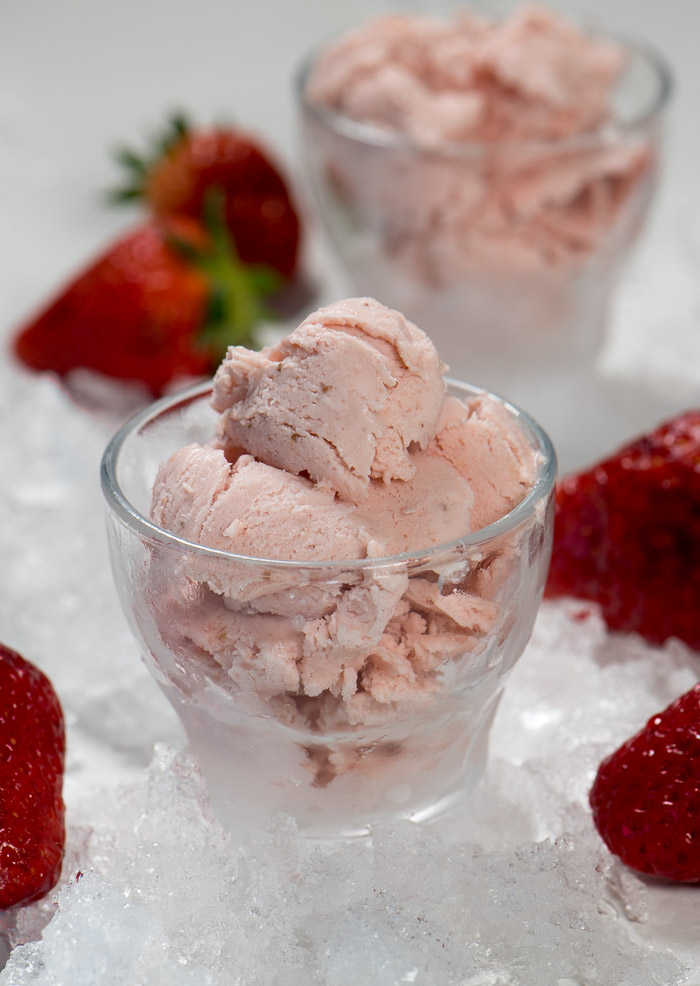 Homemade strawberry ice cream is a great way to end a delicious meal.
