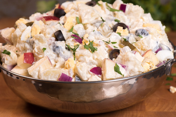This potato salad has it all -- creamy, crunchy, salty, sweet. My favorite potato salad recipe -- hands down! | The Recipe Wench